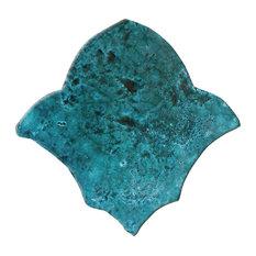 Venice Fleur-de-Lis Tiles, Turquoise, Set of 4