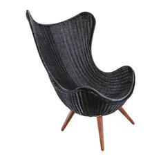 Design Mix Furniture - Ebony Wicker Egg Chair - Armchairs and Accent Chairs