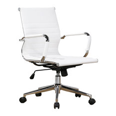 Belleze - Mid-Back Ribbed Upholstered Leather Swivel Chair With Arm, White - Office Chairs