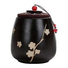 Flower Black, Ceramic Tea Canister Coffee Tins Spice Jar Exquisite Tea Caddy
