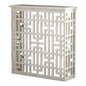 Luxe White Solid Marble Fretwork Square Console Table Carved Stone Open Sofa  Global Views