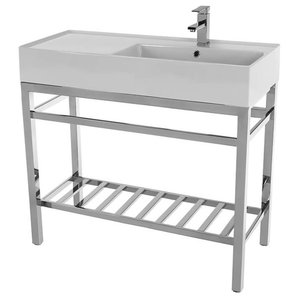 Modern Ceramic Console Sink With Counter Space and Chrome Base, One Hole