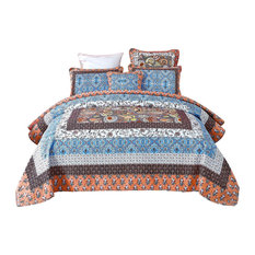 Mosaic Paradise Patchwork Quilted Quilt Set, Queen