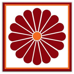 "6""x6"" Folksy Love Satin Decorative Tile, Daisy May Red"
