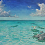 "Alan Zawacki - Tropical Seascape Painting with Sea Gulls, large original art, contemporary art - ""Taking Flight is an original 36""x48"" acrylic tropical seascape painting on gallery wrap canvas. During my travels throughout the Caribbean and Bahamas, I have continually been mesmerized by their crystal-clear water. This painting portrays a sea gull taking off from a partially submerged rock to join his flock in flight on a beautifully sunny tropical day. It is painted around the edges to create a continuation of the image on all sides. It is signed by me, the artist, and ready to hang as the perfect tropical focal point of your room."