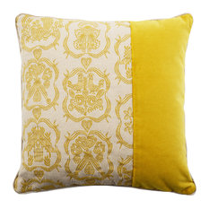 Square Patterned Cushion, Grey and Ochre
