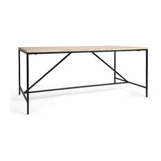 """Brikk - Bronson Industrial Steel and Wood Dining Table, 71"""" - Dining Tables"""