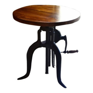 Hi-Lo Adjustable Accent Crank Table, Chestnut Finish Top