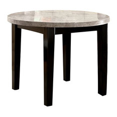Marble Top Round Dining Table, Espresso Brown