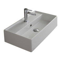 "16.1"" White Ceramic Wall Mounted or Vessel Sink, One Hole"