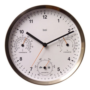 """10"""" Brushed Stainless Steel Weather Station Wall Clock White"""