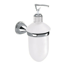 nameeks wall mounted frosted glass soap dispenser with chrome mounting soap u0026 lotion dispensers - Wall Mounted Soap Dispenser