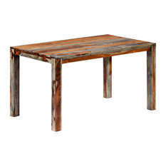 """vidaXL Solid Sheesham Wood Dining Table Gray 55.1"""" Dining Room Kitchen Table"""