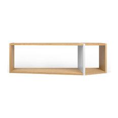 Tema One Module Stackable Wood Bookcase Oak & Pure White