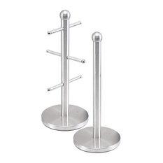 Metallic Mug Tree Cup Rack and Kitchen Roll Holder Stand Set, Quartz Silver
