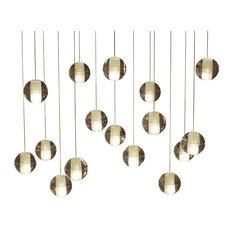 Lightupmyhome Orion 16 Light Rectangular LED Glass Globe Chandelier, Brass