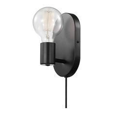 Novogratz x Globe 1-Light Matte Black Plug-In or Hardwire Wall Sconce