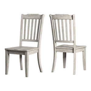Arbor Hill Slat Back Wood Dining Chair, Set of 2, Antique White