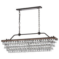 "6-Light Antique Bronze Rectangular Crystal Chandelier Dining Room 40"" Glam"