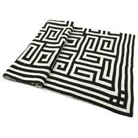 "Acrylic Greek Key Jacquard Throw Blanket 50x60"" Black"