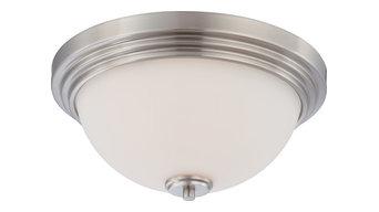 Harmony 2 Light - Flush Dome Fixtue With Satin White Glass