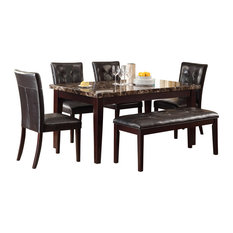 Homelegance Teague 6-Piece Faux Marble Dining Room Set Espresso