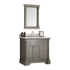 "Kingston 36"" Antique Silver Bathroom Vanity and Mirror"