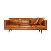 Kardiel Woodrow Lush Midcentury Modern Sofa, Aniline Leather, Walnut/Tan