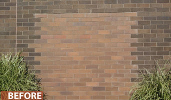 Staining to color correct masonry - Before