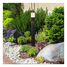 """32"""" Modern Low-Voltage 6-Watt Integrated LED Outdoor Bollard, Matt Black"""