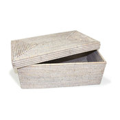 White Wash Rattan Rectangular Storage Basket With Lid, Large