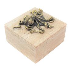 Luxe Coastal Bronze Octopus Travertine Box | Decorative Trinket Marble Square