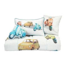 4-Piece Vintage Cars Toddler Bedding Set