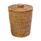 La Jolla Rattan Round Waste Basket with Plastic Insert & Lid, Honey Brown