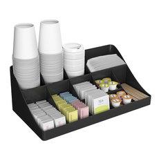 11 Compartment Breakroom Coffee Condiment Organizer, Black