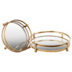 Urban Trends Collection - Round Metal Tray with Beveled Mirror Surface, Tarnished Gold Finish, Set of 2 - Style a traditional console or coffee table with the Gold Metal Trays. Featuring mirrored interiors and metal framework with distressed gold finishes, these two round trays are simple and chic. Use them as bases to display candles and decorative items.