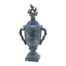 "Ceramic Decorative Jar, Blue Porcelain Ceramic 10""x8""x24"""