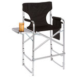 Trademark Innovations - Aluminum Frame Tall Metal Director's Chair With Side Table Black - *Accessories Not Included