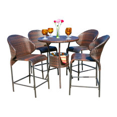 Gdfstudio Bennett Outdoor Counter Stool Bar With Ice Pail 5 Piece Set