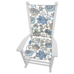Barnett Home Decor - Boutique Blue Floral Porch Rocker Cushions, Latex Foam Fill, Standard - Boutique rocking chair cushions feature a crisp floral print of blue, cyan, grey, and charcoal on an ivory background.