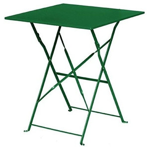 Contemporary Folding Bistro Table, Green Finished Steel, Simple Square Design