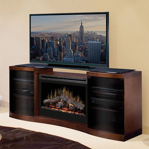 Dimplex - Acton Walnut Electric Fireplace Entertainment Center with Logs -  GDS33-1246WAL - Indoor - Electric Fireplace TV & Media Consoles