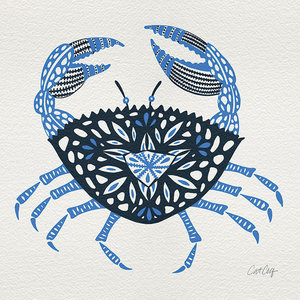 """Crab"" Printed Canvas by Cat Coquillette, 40x40 cm"