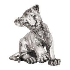 Silver Lion Cub Sculpture Sitting A59