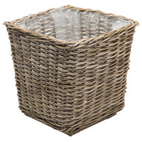 Rattan Kobo Square Planter with Plastic Liner, Gray