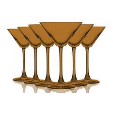 Martini 10 oz Accent Stem Wine Glasses Set of 6, Full Orange