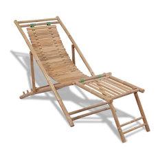 vidaXL Deck Chair Bamboo w/ Footrest Patio Garden Outdoor Reclining Sunlounger