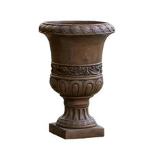 GDFStudio - Roma Brown Stone Planter - Outdoor Pots and Planters
