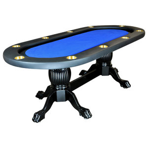 Elite Poker Table With Blue Suited Speed Playing Surface