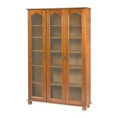 Brittany Oak Bookcase/Display Cabinet, 3 Doors